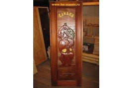 Дверь резная «Медведь» VIP, ЛИПА, 70х190